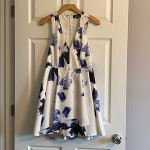 Seeing Chic Blue and Ivory Print Skater Dress